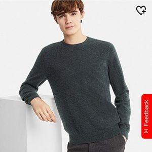 Men cashmere crewneck long sleeve sweater (black)